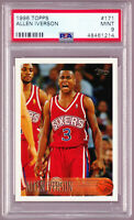 Allen Iverson 76'ers Rookie 1996-97 Topps #171 PSA 9 MINT Sixers RC 48461214