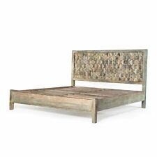 "86"" King Bed One of a Kind Reclaimed Hardwood Vintage Teal Finish Rustic"