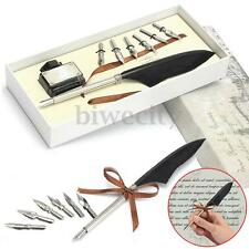 Antique Goose Feather Quill Dip Wedding Signing Pen & Ink & 6 Nibs Set Gift Box