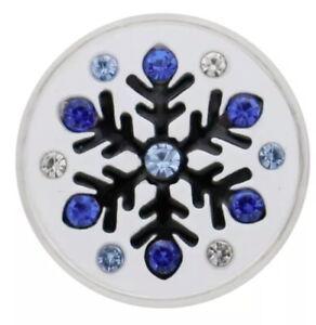 White Enamel Blue Christmas Snowflake 20mm Snap Charm For Ginger Snaps