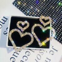 Luxury Crystal Rhinestone Heart Earrings Hoop Women Fashion Jewelry Party Gift