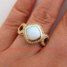 Real White Opal Solid 9k Yellow Gold Engagement Wedding Ring Simulated Diamonds