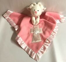 Baby Boom Girl Pink Bear Religious Cross Security Blanket Lovey Silky Plush