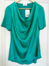 NEW Size 8 - UCW Silvia COWL NECK SATIN Emerald Green Short Sleeve TOP RRP $59