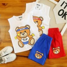 1 Set Kids Boy Girl Cute Bear Summer Vest Top Tee and Bear Pants More Style