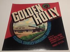 Golden Holly Brand Florida Oranges Label Holly Hill Fruit Products Davenport