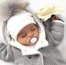 Baby thin hats with pompoms for little boys and girls