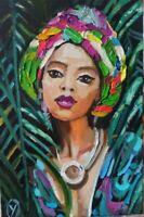 Oil painting MODERN AFRICAN WOMAN ORIGINAL