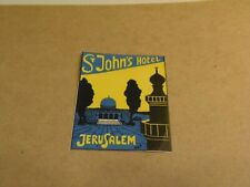 2 St. John's Hotel, Jerusalem Luggage Labels  7/27