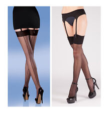 Set of satin suspender belt with 15/% elastane and seamer stockings with spandex