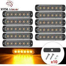YITAMOTOR 10x Amber 6 LED Warning Strobe Light 6W Emergency Hazard Marker Lights