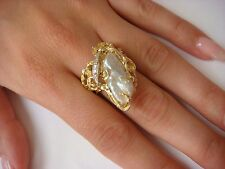 !EXQUISITE HANDMADE LARGE-HEAVY 15 GRAMS 14K GOLD RING WITH PEARL AND DIAMONDS