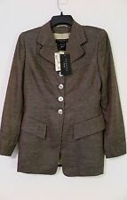 NWT Escada Olive Textured Tweed Linen Blend Blazer/Jacket Size 36 MSRP $895
