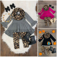 US 3PCS Toddler Kids Baby Girls Ruffle Tops Leopard Pants Winter Outfits Clothes