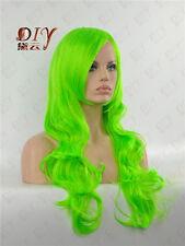 "Light Hot Women 26"" Long Green Curly Wig Heat Resistant Cosplay Hair + Free Cap"