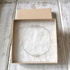 925 Sterling Silver Infinity Love Symbol Chain Bracelet Gift UK Chain New