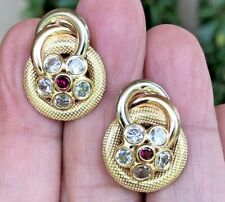 Beautiful 18K Solid Gold Post earrings with Rubys & Sapphire Made in Italy