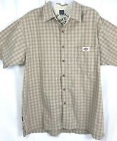 Dickies Mens shirt XL Button Plaid tan short sleeve collared pocket neutrals