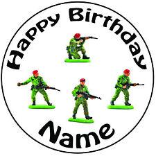 """Militaire armée jouet soldats personnalisé rond 8"""" icing cake topper-pre-cut"""