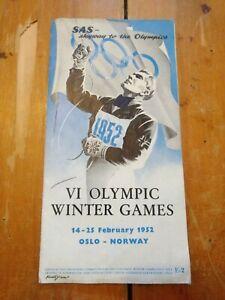 Vintage 1952 Oslo Winter Olympics Brochure Program Ski
