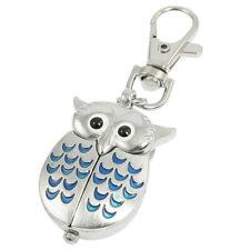 Silver Blue Lobster Clasp Key Ring Metal Owl Shape Quartz Watch V4S3
