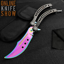 CSGO Practice Butterfly Balisong Trainer Combat RAINBOW Training Knife + Sheath