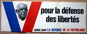 Affiche ancienne MAI 68 De Gaulle Union Défense République UDR Propagande 1968