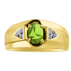 Diamond & Peridot Ring Sterling Silver or Yellow Gold Plated