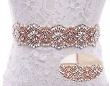 Gorgeous Bridal Wedding Dress Crystal Pearl Encrusted Rose Gold Applique Sash