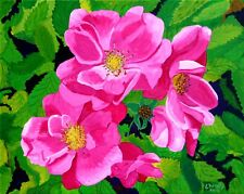 WILD ROSES #2 COLORFUL FLOWERS ORIGINAL ACRYLIC PAINTING READY-TO-HANG