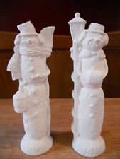 C-0613 Pair of Pencil Snowman Mr. and Mrs. Snowman Ceramic Bisque U Paint
