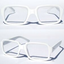 RETRO NERDY Hipster CLEAR LENS GLASSES Squared Rectangular Nerdy White Frame