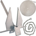 WindRider Boat Anchor Kits   Includes Galvanized Fluke Anchor, Rope, Shackles, C