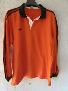 Maillot rugby ADIDAS vintage VENTEX coton shirt orange couleur Narbonne 80'S L