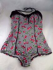 NWT Bettie Page Pin-Up Princess in Cherries 1pc swimsuit Sz 8 Black Gingham sexy
