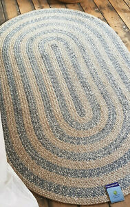 Grey Beige Scandi fine woven braided style oval rugs Cotton rustic Eco friendly