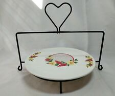 Vintage Cake Plate and Metal Stand Eastern China Co, Inc NYC Heat Proof