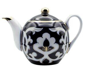 Turan Porcelain Gilded Teapot, Handmade Uzbek Pakhta Ceramics, 800 ml