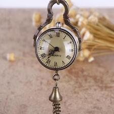 Hot Bronze Glass Ball Pocket Watch Necklace Pendant Steampunk Quartz Watch HK