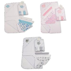 Baby Soft Hooded Towel 4 Wash Face Cloths Bath Set Shower Gift Blue Grey Pink