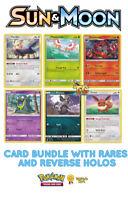Pokemon Sun & Moon Base Set 50 Card Bundle with rares & reverse holos