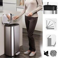 Auto Steel Touch-Free Trash Can Motion Step Sensor Silence Waste Bin Kitchen