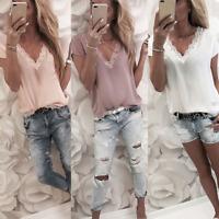 Damen Kurzarm V-Ausschnitt Chiffon Tops Bluse Freizeit Sommer Spitze T-Shirt Top