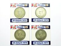 Poland Coin Set FREE SHIPPING 20 złotych 1974 1975 1976 1977 lot 4 coins