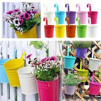 Mignon En Métal Fer Pot Fleurs Suspendus Vase Seau Balcon Jardin Planteur Décor
