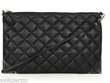 P2895 Topshop Black Quilted Metal Corner Clutch Bag