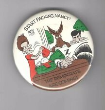 1988 pin Dukakis pinback Anti Ronald & Nancy Reagan button Caricature Donkey