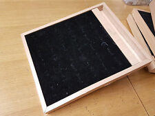 3x Wooden Ring Jewellery Display Storage Box Tray Show Case Organiser Holder