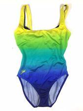 Speedo Blue Green Yellow One Piece Womens Bathingsuit Size 8/10 Underwire Bra
