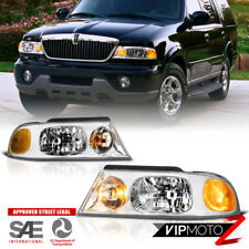 1998 2002 Lincoln Navigator Suv Chrome Front Left Right Headlights Embly New